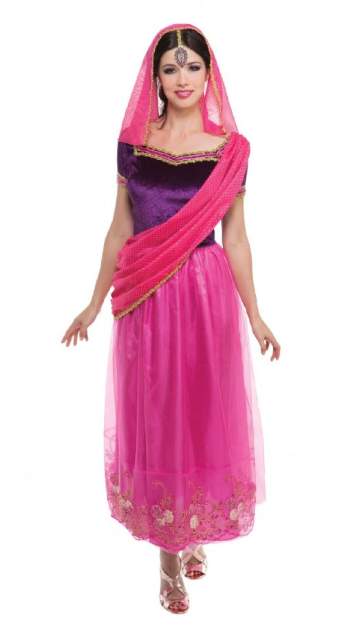 Ladies Bollywood Lady Costume Asian Indian Bolly Saree Fancy Dress Outfit